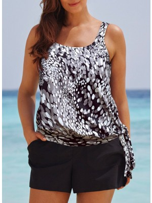 DEW DROPS SIDE TIE BLOUSON TANKINI WITH CARGO SHORT