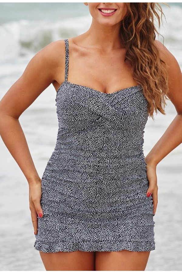 BEDROCK CROSSOVER RUFFLE SWIMDRESS
