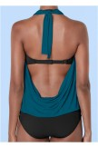 Cowl Neck Twofer One Piece Swimsuit